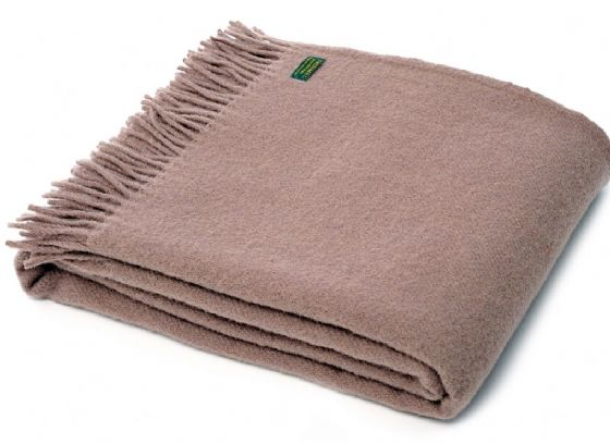Plain Weave Taupe Wool Blanket / Throw